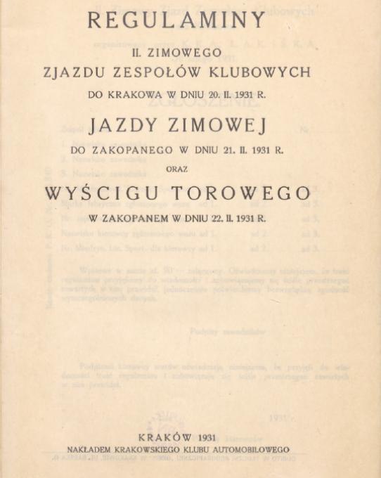 Regulamin Imprez Zimowych K.K.A., 1931r. (źródło: POLONA)